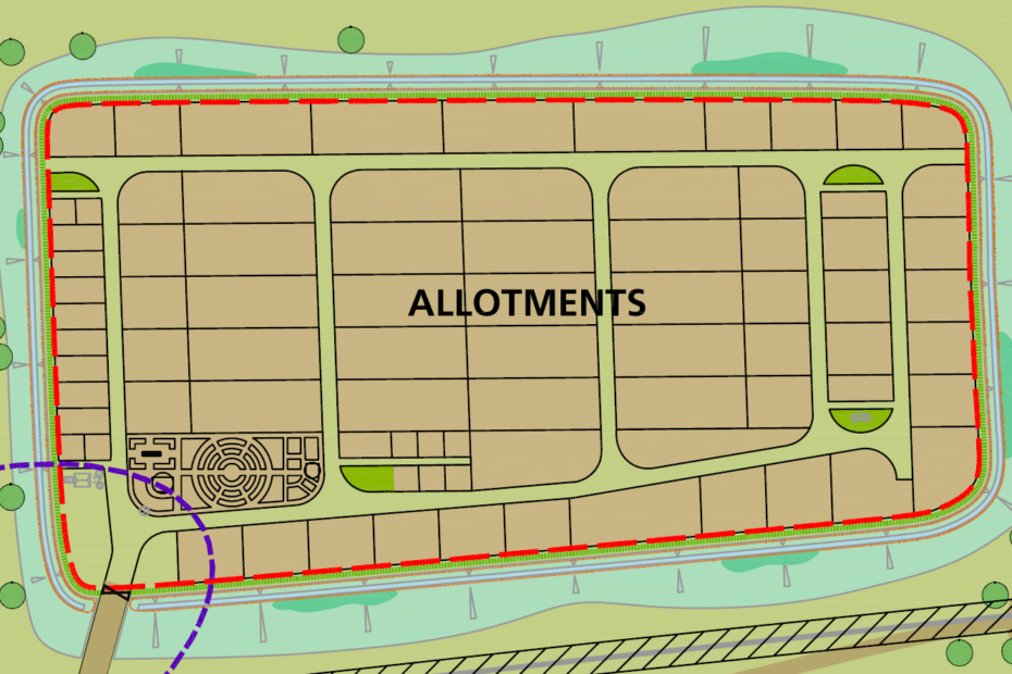 The layout of Clay Farm allotments as envisaged in planning submission 2010.